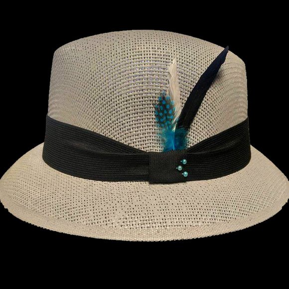Gray Straw Hat Pachuco Fedora Derby Style a918e881d96